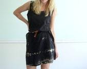 Tie Dye Vintage 70s Sleeveless Bleached Black Mini Boho Dress SMALL MEDIUM S M