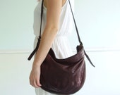 Leather Crescent Shaped Hobo Bag Purse Vintage 80s - Slouchy Large Tote
