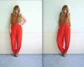 Slouchy Red High Waist Trouser Pants - Womens Vintage 80s - Medium M Large L