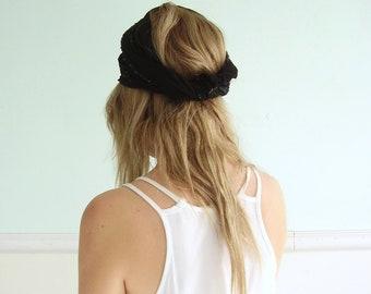 Black Sequin Sash Tie Belt Scarf Turban Headscarf - Vintage 80s 90s