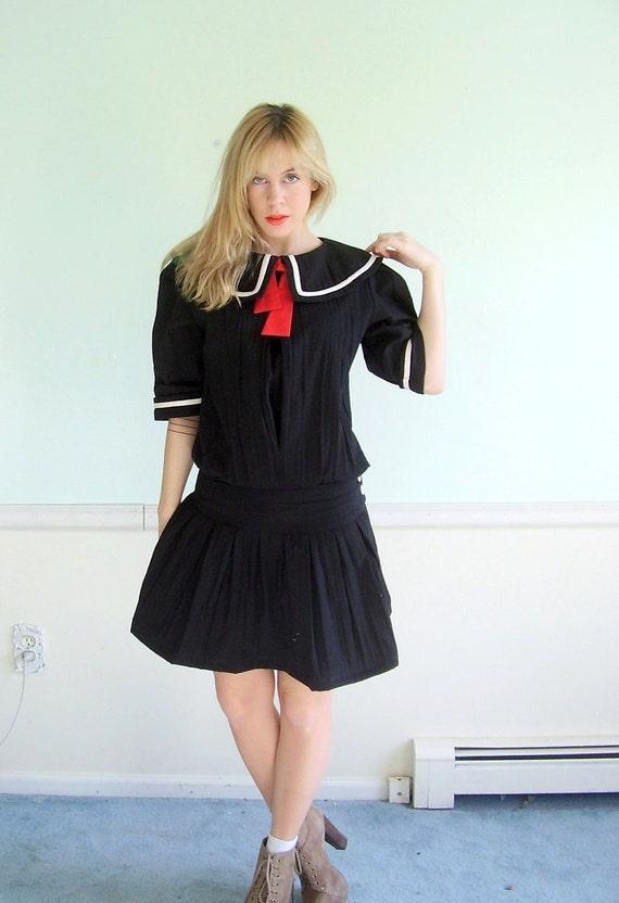 Half Past Three Vintage 80s SS Black and Red Nautical Lolita Mini Dress MEDIUM M Petite P