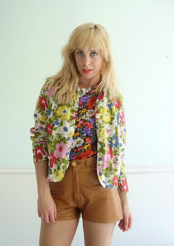 Floral Blazer 60s Vintage Floral Printed Button Down Jacket SMALL S