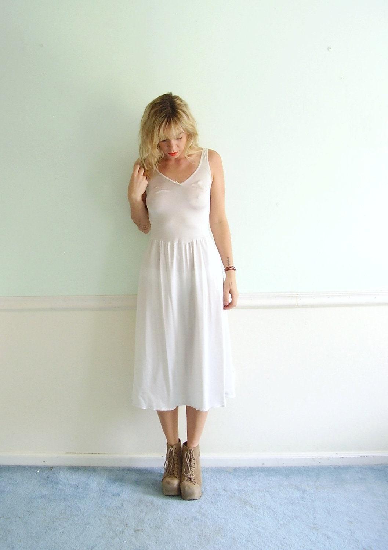 Off White Bodycon Silky Long Slip Dress By Vonlenskavintage