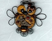 Steampunk Hooty Owl Necklace Pendant Silver And Gold Color Clay Wire Wings Polymer Clay Jewelry