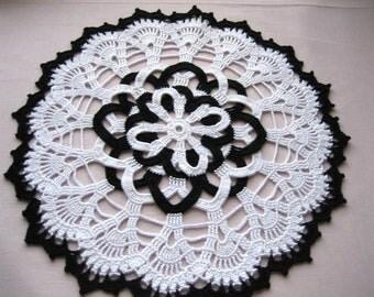 Vanity Doily white/black Hand Crocheted, New, Turkishteam