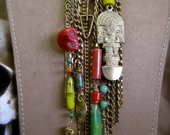 End of the World as We Know It:  Aztec Necklace Vintage Assemblage BOHO Statement One of a Kind Extra Long Multi Color Charms Chains Skull