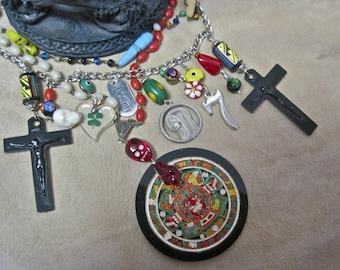Pray for Us:  Aztec Calendar Necklace Lucky Charms Vintage Assemblage Skull Crosses Evil Eyes Colorful Protection
