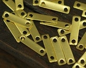 100 Raw Brass Rectangle Connector  (9 X 2mm)  Brs 613 ( A0067 )
