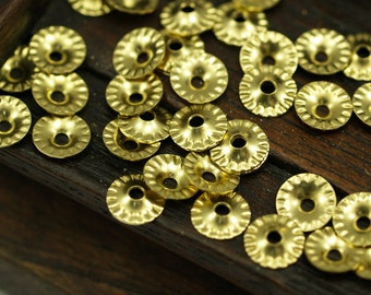 Tiny Spacer Bead, 100 Raw Brass Middle Hole Spacer Bead,bead Caps ,charms ,pendant ,findings (7mm) Brs 637 A0450