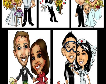 Custom Wedding Invite Caricature Gift, Online Caricature Save the Date Sign, Digital Wedding Cartoon Caricature, Personalized Caricature
