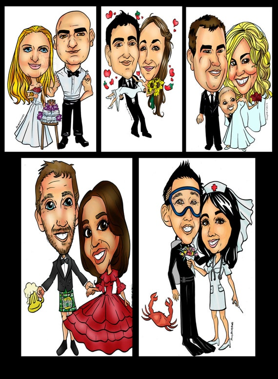 bride & groom wedding save the date caricature