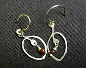 Sterling Silver Beaded Leaf Earrings with Dark Red Stone Beads