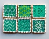 Emerald Patterns Cookie Gift Box - Half Dozen (Vanilla) - MADE TO ORDER