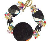 sophisticated statement bracelet black onyx multi-color Swarovski crystal