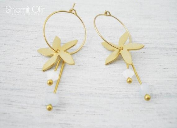 Magic Flower Hoop Earrings in Matte Gold, Wedding Hoops, Bridal Jewelry