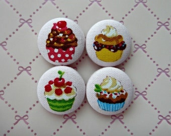 Cute Cupcakes Pink Japanese Fabric Covered Buttons For Sewing - 22mm - Set of 4