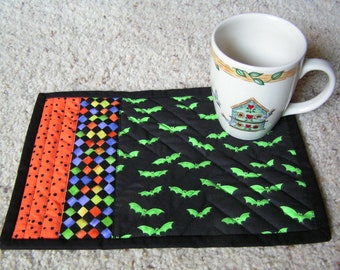 Snack Mat or Mug Rug Set of Two- Halloween Reverses to Christmas