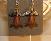 Angel Earrings With Flowers and Czech Luster Beads