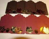 Gift Tags, Large, Fall, Brown and Burgundy With Fall Leaves and Acorn Embellishments