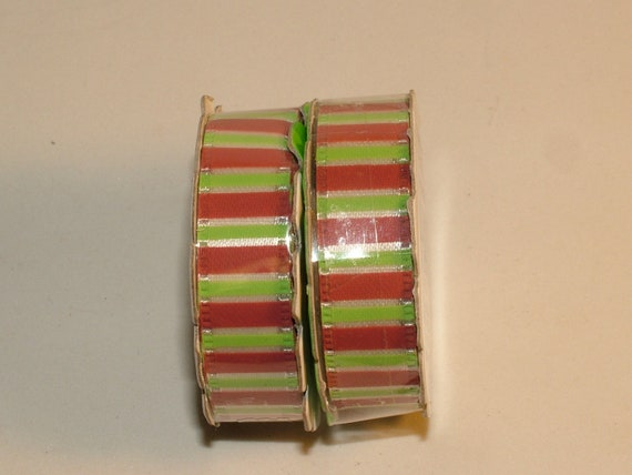 Ribbon, Trim, Red and Green Stripes, Self Adhesive