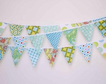 Mini pennant fabric banner - I Love Aqua - childrens decor, party decor or photo prop