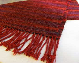 Sale: Handwoven shawl using imported red merino wool yarn