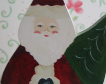 Santa Christmas Decoration Very Cute Wooden Santa Made for a gift in 1988 Very Sweet