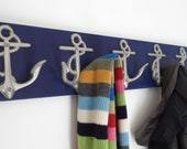 Navy towel rack as seen on houzz.com Beach House Dreams™ anchors bathroom beach towel cottage renovation mancave lake interior design OBX