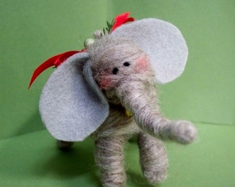 Elephant Felted Wool Ornament
