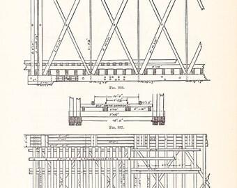 1892 Technical Drawing - Antique Math Geometric Mechanical Drafting Interior Design Blueprint Art Illustration Framing 100 Years Old