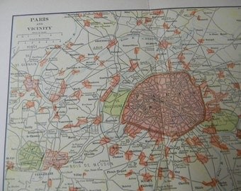1903 City Map Paris France - Vintage Antique Map Great for Framing 100 Years Old