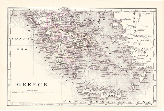 1897 Map Greece - Vintage Antique Map Great for Framing 100 Years Old