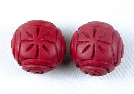 Hand Carved Cinnabar Flat Round Pendant Beads 24mm (2 pc) (e2848)