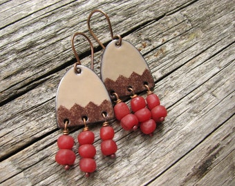 Brown Enamel Earrings with Red Bead Dangles - Enamel Jewelry - Copper Earrings - Enamel on Copper - Brown Earrings - Boho Earrings