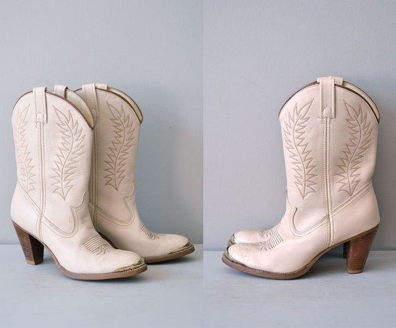 70s western boots / 1970s cowboy boots / leather boots / Sissy boots