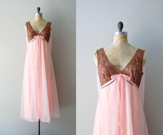 1960s lingerie / 60s nightgown / Mon Cherie chiffon gown
