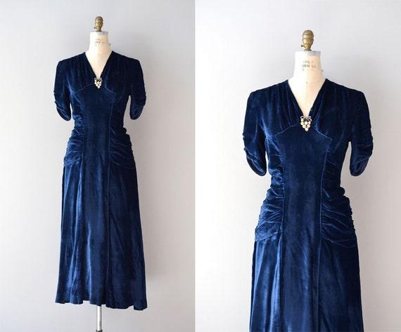 1930s dress / velvet 30s dress / Shoot the Moon