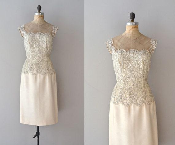 vintage 1950s dress / cream lace 50s dress / Sotto Voce