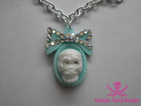 Turquoise Bling Bow 3D Skull Necklace with Swarovski Rhinestones