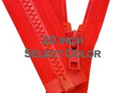 WHOLESALE Ykk Jacket Zippers-  20 inch Vislon Jacket Zipper YKK 5 Molded Plastic Medium Weight - Separating - Select Color