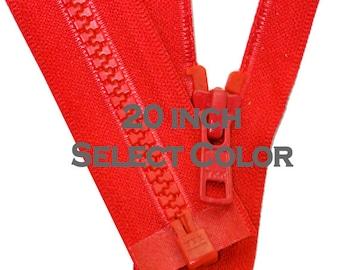One 20 inch Vislon Jacket Zipper YKK 5 Molded Plastic Medium Weight  Separating Bottom - Select Color