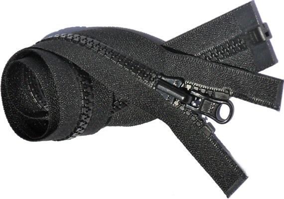 28 inch Jacket Zipper Reversible Slide - YKK 5 VISLON Separating Bottom - Select Color Black