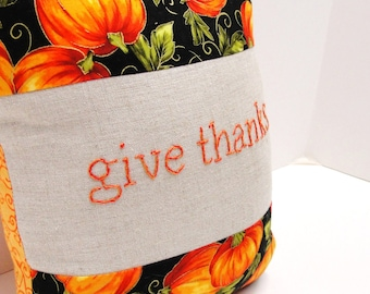 "Thanksgiving pillow- hand-embroidered ""give thanks"" pillow in black with bright pumpkins and vines"