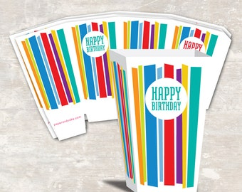 PRINT & SHIP Mod Stripe Birthday Party Mini Popcorn Boxes (set of 12) >> personalized and shipped to you   Paper and Cake