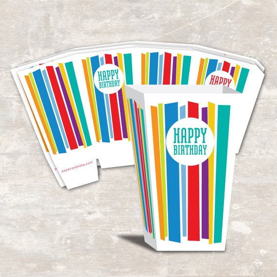 PRINT & SHIP Mod Stripe Birthday Party Mini Popcorn Boxes (set of 12) >> personalized and shipped to you <<