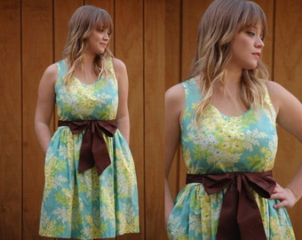 Jessica Teal with Yellow Flowers Cotton Dress with Hidden Pockets Size LARGE 14 - Ready To Ship - SAMPLE SALE