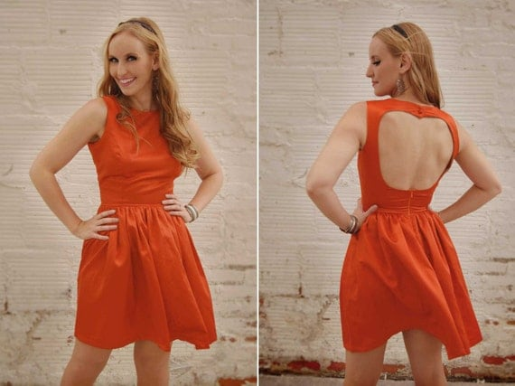 Mia Backless Classic Sleeveless Dress with Gathered Skirt and Hidden Pockets - Open Back / Keyhole / Many colors available / Custom Made