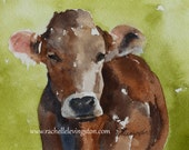 watercolor painting of cow painting nursery art PRINT boy wall art nursery decor home decor from original cow painting 11x14 large brown dp