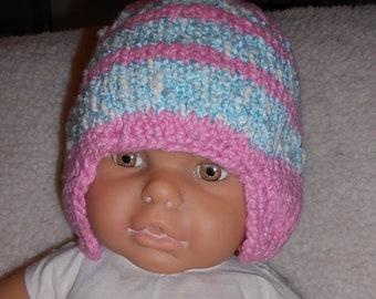 Childs Knit Hat, Softest Cotton, Ear Flap Hat, Pink Hat