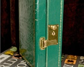 Vintage Green Jewelry Box with Red Interior